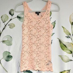Bebe Sheer Lace Floral Tank Top XS beige / pink
